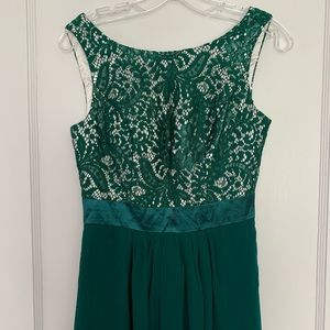Dresses - Dark green lace and chiffon evening gown